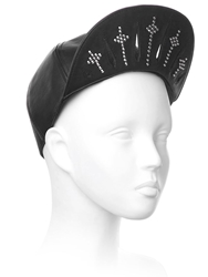 House Of Malakai Skater Rays 2 Leather Hat Black Silver