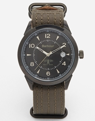 Barbour Canvas Strap Military Style Watch Green