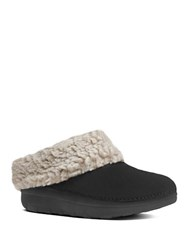 Fitflop Woolen Collar Slip On Mules Black