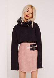Missguided Buckle Detail Faux Leather Asymmetric Skirt Pink