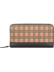 Burberry Small Scale Check And Leather Ziparound Wallet Yellow And Orange