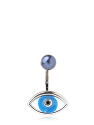 Delfina Delettrez Blue Eye And Pearl Mono Earring Silver Blue