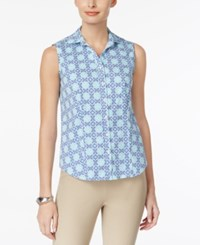 Charter Club Sleeveless Print Shirt Only At Macy's Clear Coast Combo