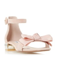 Dune Loulabelle Bow Flat Jewelled Sandals Pink