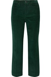 Rag And Bone Dylan Cropped Cotton Corduroy Flared Pants Green