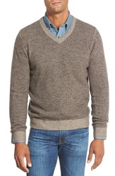 Men's Big And Tall Nordstrom Plaited Cashmere V Neck Sweater Brown Bean