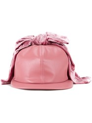 Federica Moretti Bow Detail Cap Pink And Purple