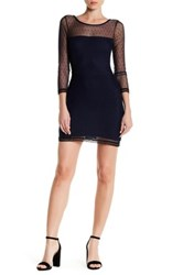 Lucca Couture Boatneck Long Sleeve Mesh Dress Blue