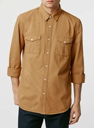 Topman Mustard Double Pocket Twill Long Sleeve Casual Shirt Yellow