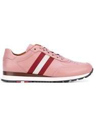 Bally Stripe Panel Lace Up Sneakers Women Cotton Calf Leather Leather Rubber 41 Pink Purple