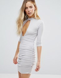 Daisy Street Plunge Front Dress With Choker Neck Grey