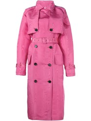 Alessandra Rich Woodgrain Silk Trench Coat With Belt Pink And Purple