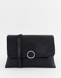 Pieces Faedra Suede Flap Cross Body Bag Black Stormy Weather