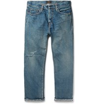 Chimala Cropped Distressed Denim Jeans Indigo