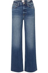 Frame Le California Frayed High Rise Wide Leg Jeans Indigo
