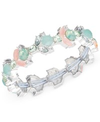 Nine West Silver Tone Pink And Seafoam Stone And Crystal Stretch Bracelet