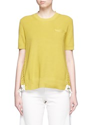 Sacai Floral Eyelet Lace Back Knit Top Yellow