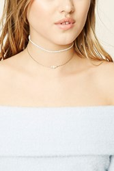 Forever 21 Studded Faux Pearl Choker Set Gold Cream
