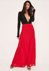 Missguided Red Lace Up Side Maxi Skirt