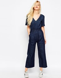 Asos Wide Leg Jumpsuit In Cropped Length With Tie Back Blue
