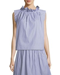 Atlantique Ascoli Mardi Sleeveless Striped Cotton Poplin Blouse W Ruffled Trim Blue White