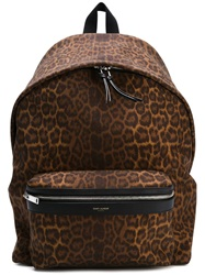 Saint Laurent Leopard Print Backpack Brown