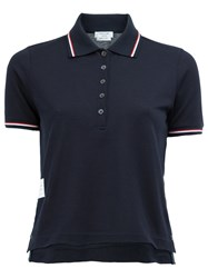 Thom Browne Cropped Polo Shirt Blue