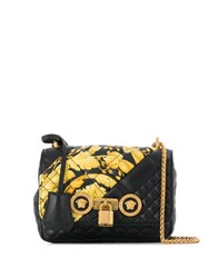 Versace Barocco Print Quilted Shoulder Bag Black