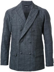 Taakk Pinstripe Double Breasted Blazer Grey