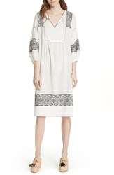 The Great Great. Lovely Tunic Dress Off White Black Embroidery