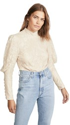 Wayf Mabel Mock Neck Top Ivory Lace