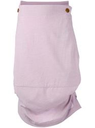 Vivienne Westwood Asymmetric Drape Skirt Women Cotton Spandex Elastane Viscose Wool 44 Pink Purple