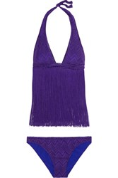 Missoni Mare Fringed Crochet Knit Bikini Purple