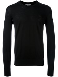 Dolce And Gabbana Bee Crown Embroidered Jumper Black