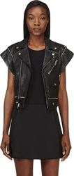 Saint Laurent Black Studded Lambskin Moto Vest