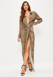 Missguided Nude Leopard Print Wrap Front Maxi Dress