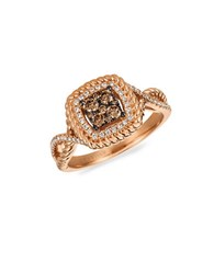 Levian Cognac Diamond Chocolate Diamond Vanilla Diamond And 14K Strawberry Gold Ring Rose Gold