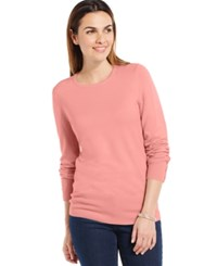 Jm Collection Crew Neck Solid Button Sleeve Sweater Deco Pink