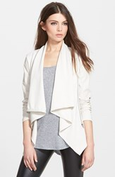 Blank Nyc Women's Blanknyc 'Private Practice' Mixed Media Drape Front Jacket Beige