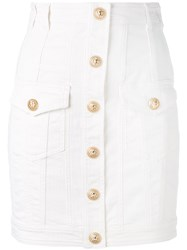 Balmain Button Mini Skirt Women Cotton Spandex Elastane 34 White