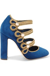 Dolce And Gabbana Embellished Suede Mary Jane Pumps Storm Blue