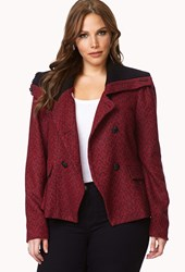 Forever 21 Plus Size Cozy Chic Tweed Coat Red Black