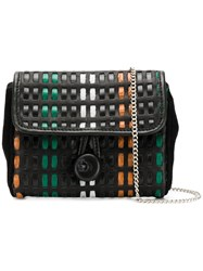 Carmina Campus Braided Flap Clutch Black