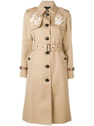 Coach Lace Embroidered Trench Coat Nude And Neutrals