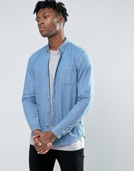 Pull And Bear Pullandbear Denim Shirt In Light Wash Blue In Regular Fit Blue