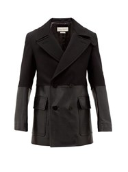 Alexander Mcqueen Contrast Panel Wool And Leather Short Trench Coat Black