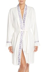 Eileen West Short Flannel Robe Ivory Purple