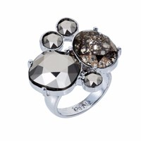 Nadia Minkoff The Kate Cocktail Ring Silver Chrome Black Silver