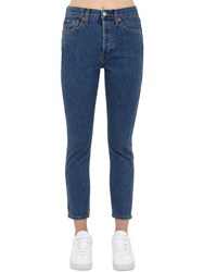 Re Done Double Needle Skinny Cropped Denim Jeans Blue