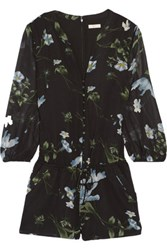 Joie Sarnelle Printed Silk Georgette Playsuit Black